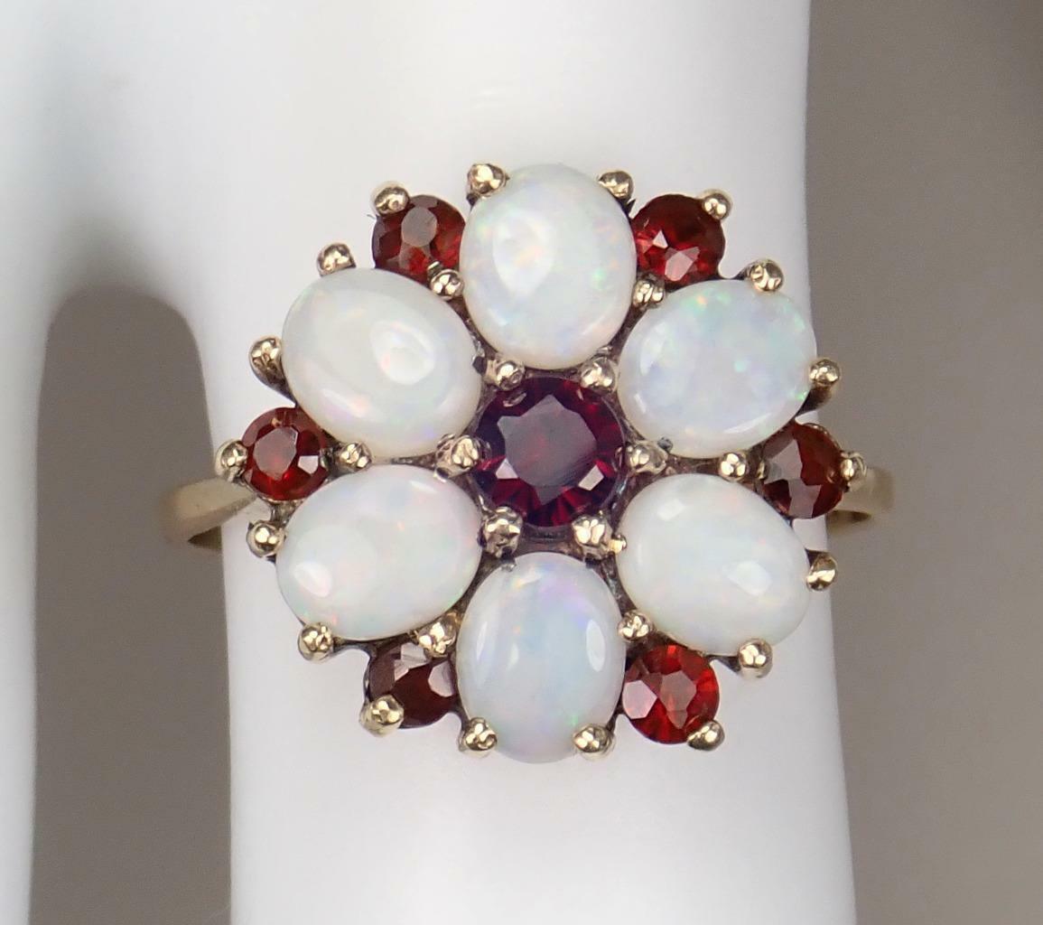 Beautiful Vintage Estate 9K Gold 1.1ct Opal Garne… - image 6