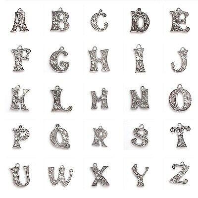 10 pieces 18mm Alphabet Letter Alloy Charm Pendants - Variety of Alphabet