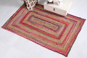 FIESTA Braided Area Rug Thick Stripe Natural Jute Multi Colour Recycled Fabric