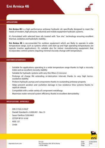 con alto indice di viscosità Olio Idraulico ENI Arnica 46 DALT 20