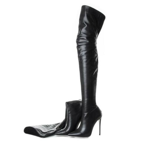 Details about  /Womens Leather High Heel Stiletto Pointed toe Over Knee High Thigh Boots Shoes