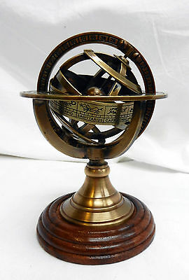 Brass Armillary Sphere Paperweight on Wooden Stand - BNIB
