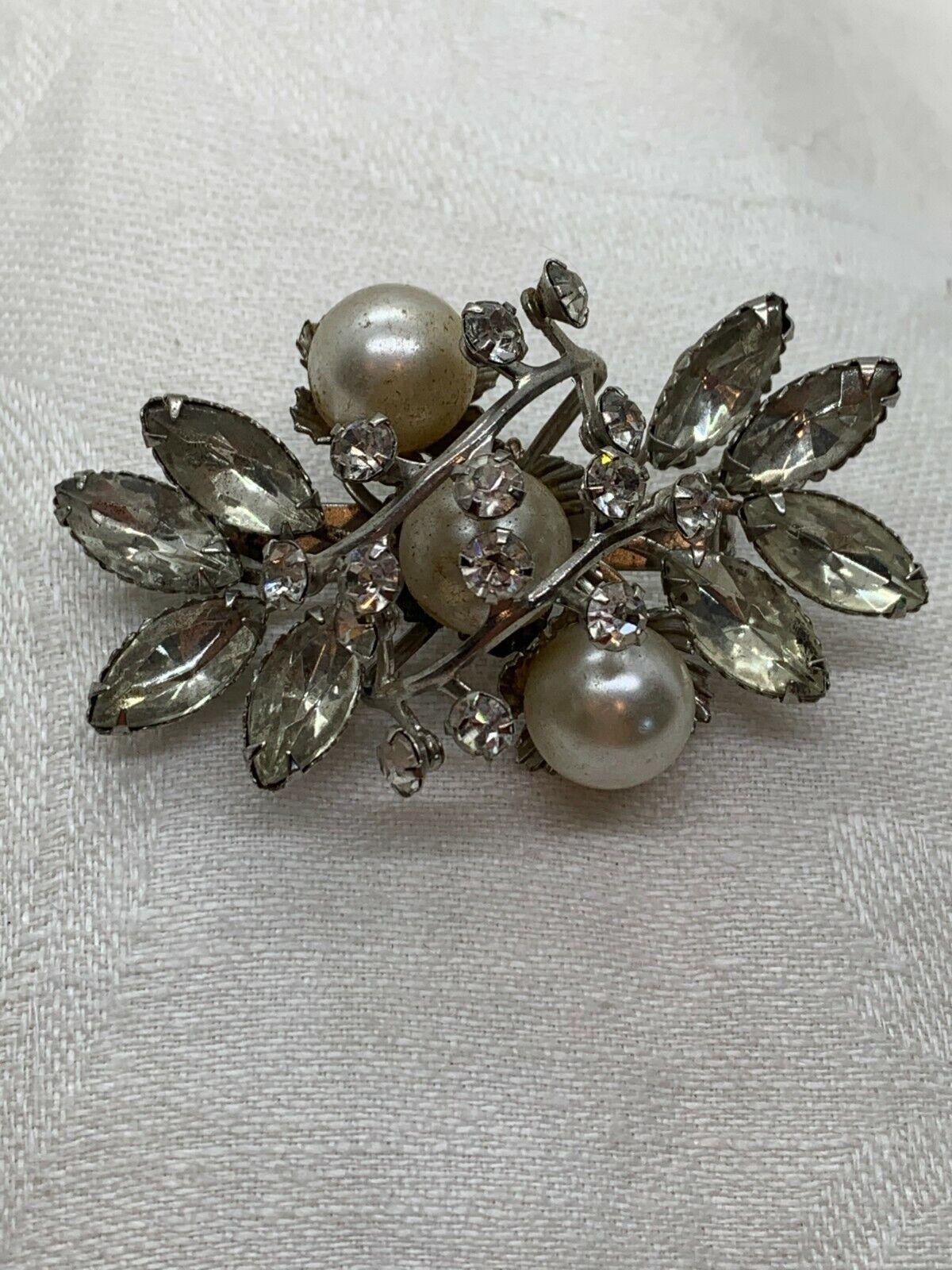 Marquise Diamond Rhinestone Synthetic Pearl Silve… - image 2