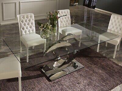 Esstisch Tisch Designertisch Glasplatte CALIMA Luxus Edelstahl Küche Esszimmer | eBay