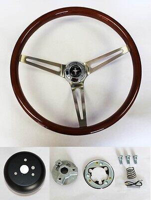 "1965-1969 Mustang Wood Steering Wheel Mustang Cap 15"" High Gloss Finish"