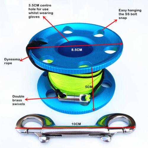 Scuba Diving Aluminum Alloy Finger Spool Line Holder Reel 50m Line Bolt Snap