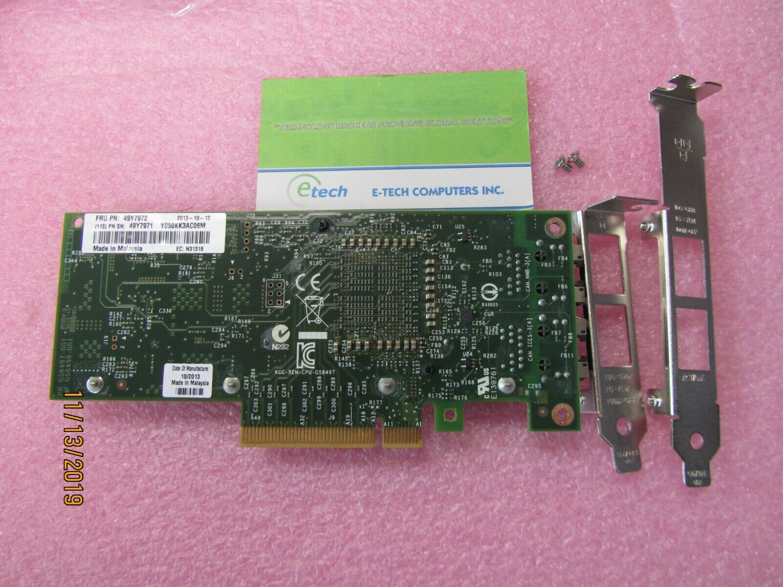 49Y7972 - Intel X540-T2 Dual-Port 10GBaseT Adapter for IBM System x, OPT 49Y7970