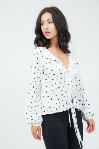 BLACK POLKA DOT TOP NEW WOMEN/'S  LOOK WHITE BLOUSE SIZE SMALL OUTFIT