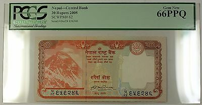 2008 Nepal Central Bank 20 Rupees Note SCWPM# 62 PCGS GEM New 66 PPQ | eBay