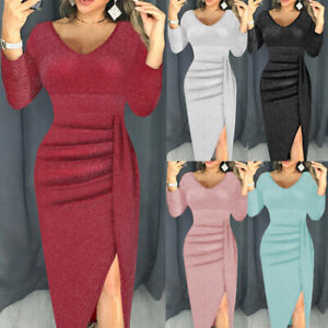 UK-Womens-Ladies-Off-Shoulder-Split-Bodycon-Long-Evening-Party-Midi-Pencil-Dress