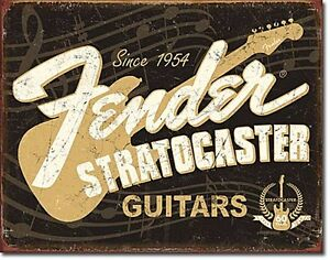 Adaptable Fender Stratocaster 60 Years Metal Wall Sign 425mm X 280mm Neither Too Hard Nor Too Soft de