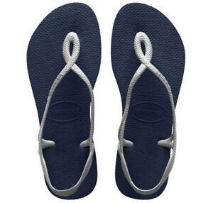 4e14f9c78 Havaianas Brazil Women Flip Flops Luna Sandal Thongs Blue Silver All ...