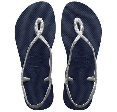 2d3014bc4 Details about Havaianas Brazil Women Flip Flops Luna Sandal Thongs Blue  Silver All Size
