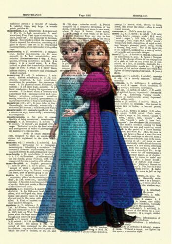 Frozen Elsa /& Anna Dictionary Art Print Poster Picture Book Disney Movie Sisters