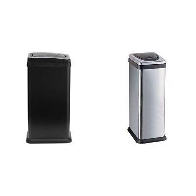 Silver Neutrals Argos Home Touch Top 50L Stainless Steel Bin Black