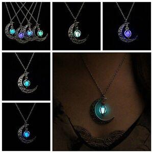 Brillan-En-La-Oscuridad-Collar-Luminoso-Plateado-Luna-Y-Calabaza-Colgante