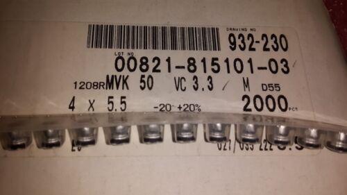 20x NIPPON MVK50VC33MD55 ELEC CAP SMD  3.3uF 50V 20/% SMT 4x5.5mm