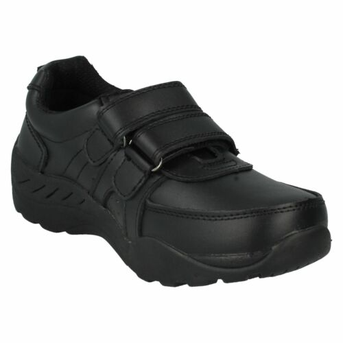 SALE Boys N1078 black coated leather riptape School  shoes by Red Tag £9.99