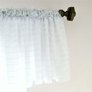 Details About White Ruffle Valance Sheer Extra Wide Window Treatment Nursery Kitchen