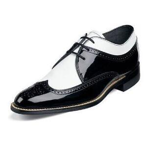 00605 stacy adams men's dayton black & white dress shoes
