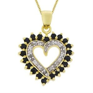 18K-Gold-over-Silver-1-8ct-Diamond-1ct-Sapphire-Heart-Necklace