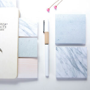 Am-KF-Natural-Marble-Pattern-Sticky-Note-Bookmarks-Memo-Pad-Stationery-Supplie