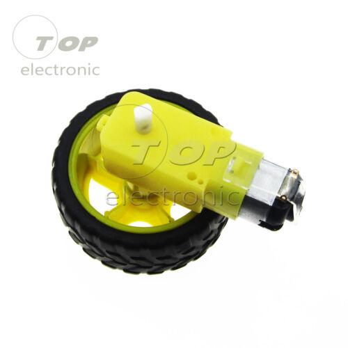 Smart Car Robot DC 3-6//12V Gear Motor Right-angle Plastic Tire Wheel Mount