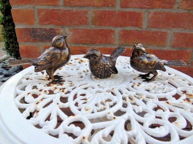 Oiseaux en bronze , statue animalière en bronze, Größe naturel , lot de 3 pcs