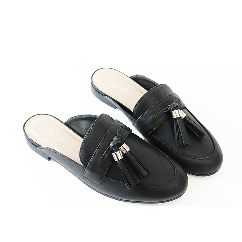 Edge Stylish Tassel Flat Loafer Sapato Mule Slip-in Slipper Black