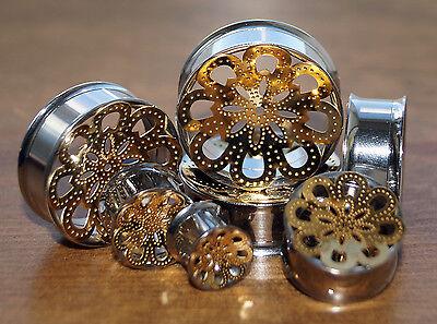MANDALA FLOWER STEEL GOLD FLESH TUNNEL SCREW CONCAVE EAR LOBE PLUG STRETCHER