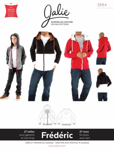 Jalie 3884 Frederic Hoodie Sewing Pattern in 27 sizes Men/'s XS-XXL Boys/' 2-13