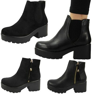 NEW WOMENS LADIES MID HEEL BLOCK CHUNKY PLATFORM CHELSEA ANKLE BOOTS SHOES SIZE