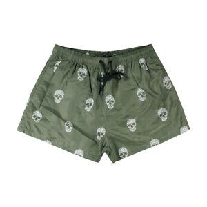 Costume-da-Bagno-Uomo-Verde-Militare-Teschio-Pantaloncini-Mare-Boxer-Corto