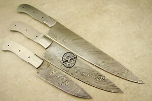Lot-of-3-PCs-Large-Professional-Damascus-Kitchen-Chef-Knife-Hunting-Blank-Blade