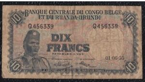 Capable 10 Francs From Belgium Congo And Rwanda Urundi 1.6.55 Les Catalogues Seront EnvoyéS Sur Demande