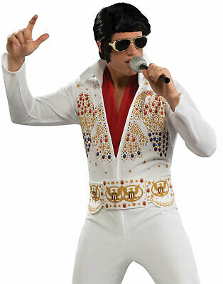 Adult Elvis Skinny White Rhinestone Jumpsuit Vegas Mens Halloween Costume Xl Ebay