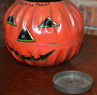 Vintage Tin Litho US Metal Toy Jack O Lantern Trick or Treat Owl Bats Halloween