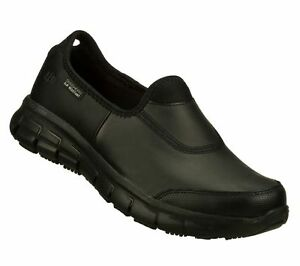 Womens Black Skechers Shoes 76536 Memory Foam Work Flex Relax New Slip Resistant
