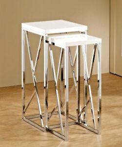 "Modern 2 Piece Chrome Nesting Side Table Set with GLOSS WHITE Top 29"" Tall"