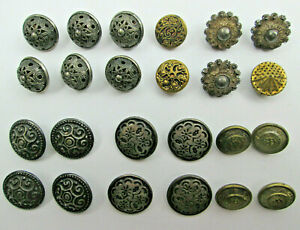 Mixed-Lot-of-Vintage-Fancy-Metal-Buttons-Filigree-Intricate-Designs-Metal-Shanks
