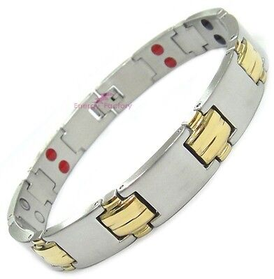 Unisex Magnetic Bracelet 4in1 Double Row Germanium Anion FIR 3000 Gauss Magnets