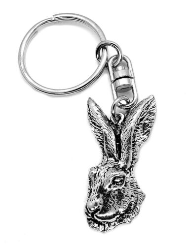 Hare Head Silver Pewter KEYRING in Lemon Gift Pouch
