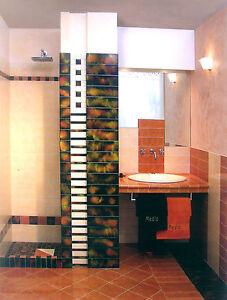Piastrelle pavimento rivestimento bagno Fac giallo arancione 10x10 ...
