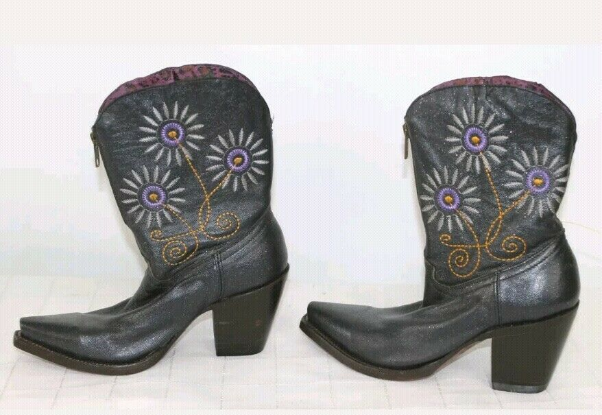Charlie 1 Horse Boots Western Country Women Women Women 6 Purple Daisy Flower Glitter Zipper 726944