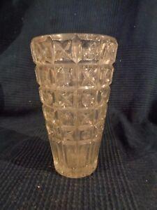 Vaso IN Vetro Cristallo Pressa Stampo Vintage Antico Barocco Pesante 60 70 Kitch