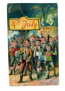 Vintage-Patriotic-July-4th-Postcard-Boys-Marching-in-Parade-with-Fireworks