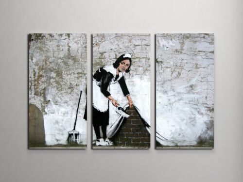 """Banksy Maid In London Stretched Canvas Triptych Print 48/""""x30/"""" BONUS WALL DECAL!"""