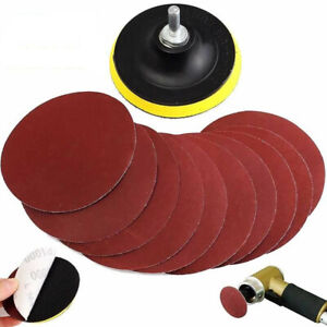 10Pc-4-039-039-Sanding-Disc-Sandpaper-Hook-Loop-1000-Grit-Drill-Adapter-Backer-Pad