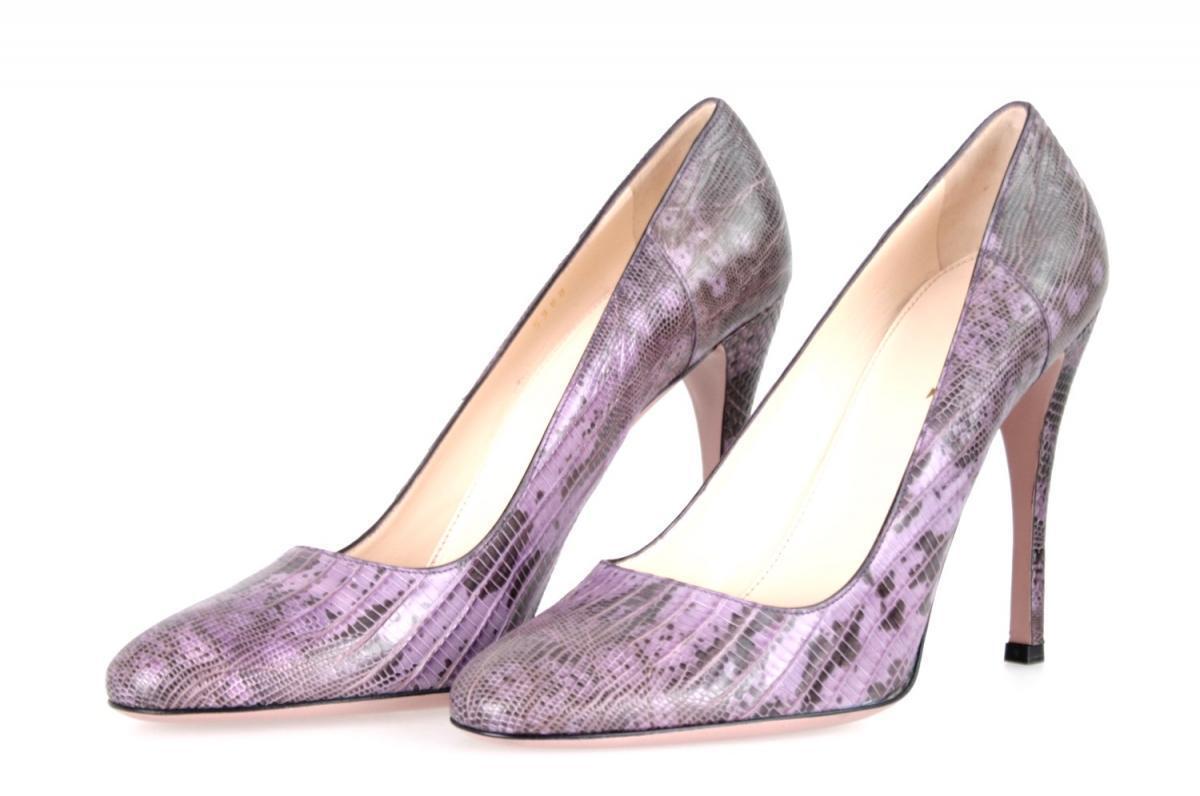 Authentic Luxury PRADA Escarpins chaussures 1i5990 violet Cap Lizard New 39 39,5 UK 6