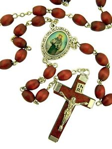 Brown-Wood-Prayer-Bead-Saint-Francis-of-Assisi-Rosary-14-Inch